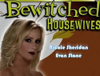 الحسية نيكول ترتدي جوارب سوداء مثيرة ومثير ديك لها جارها قرنية في المطبخ